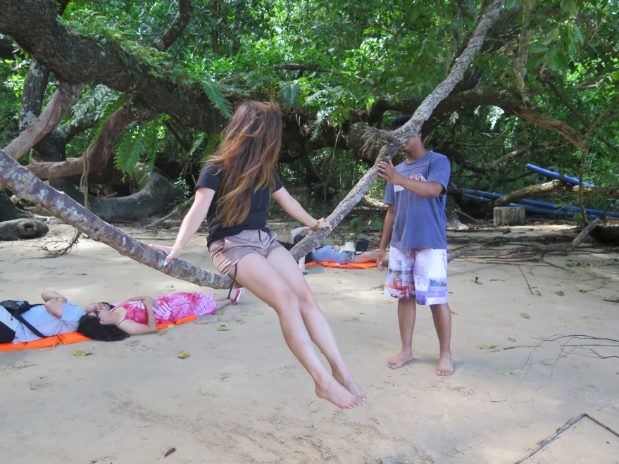 Bossing this random kid to move the vine, in picturesque Puerto Princesa in Palawan.